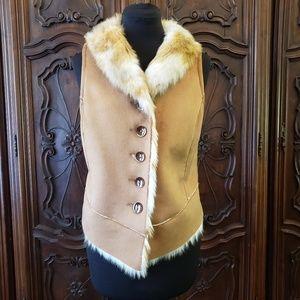 Jackets & Blazers - Suede & Faux Fur Reversible Woman's Vest.